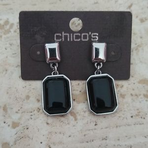 Chico's silver black square earrings